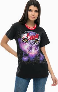 Хлопковая футболка с нашивками и стразами Pinko