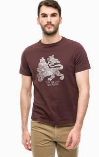 Коричневая футболка из хлопка с принтом Lerros