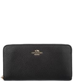 Черный кошелек из мягкой кожи Coach