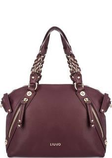 Вместительная сумка бордового цвета Liu Jo