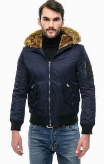 Синяя демисезонная куртка с капюшоном Gaudi