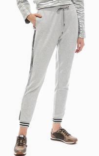 Серые брюки из вискозы с отделкой пайетками Liu Jo Sport