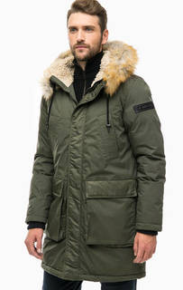 Утепленная куртка цвета хаки с капюшоном Diesel