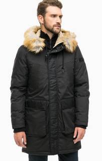 Черная утепленная куртка с капюшоном Diesel