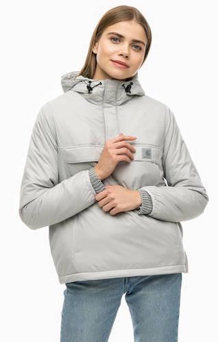 Серая куртка с капюшоном и карманом-кенгуру