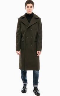 Двубортное пальто цвета хаки Calvin Klein Jeans