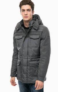 Серая утепленная куртка с капюшоном Navigare