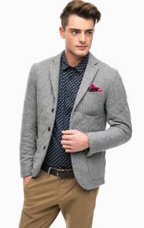 Серый шерстяной пиджак с накладными карманами Scotch&Soda