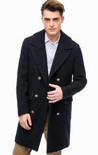 Синее двубортное пальто с карманами Scotch&Soda