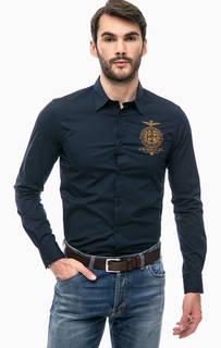 Синяя рубашка из хлопка с вышивкой Aeronautica Militare