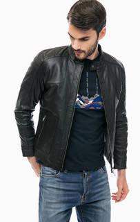 Кожаная куртка с воротником-стойкой Liu Jo Uomo