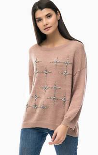 Розовый свитер с декоративной отделкой Liu Jo