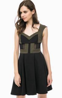 Приталенное платье с сетчатыми вставками MET