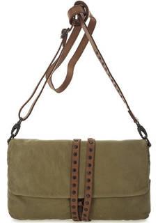 Кожаная сумка цвета хаки с откидным клапаном Aunts & Uncles