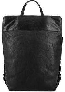Черный кожаный рюкзак на молнии Aunts & Uncles