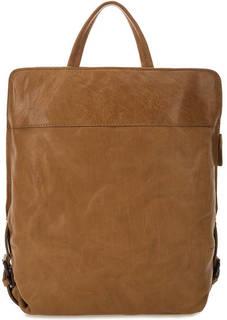 Коричневый кожаный рюкзак на молнии Aunts & Uncles