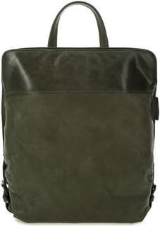 Кожаный рюкзак цвета хаки на молнии Aunts & Uncles