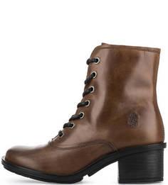 Высокие кожаные ботинки на каблуке FLY London