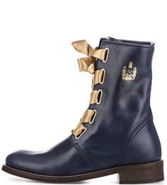Синие кожаные ботинки FLY London