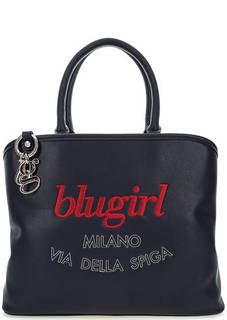 Синяя сумка с яркой вышивкой Blugirl