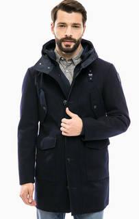 Шерстяное пальто с капюшоном и съемной толстовкой Blauer usa