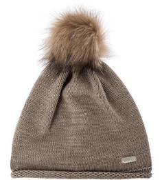 Коричневая шапка с помпоном Capo
