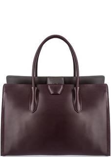 Бордовая кожаная сумка с одним отделом Gianni Chiarini