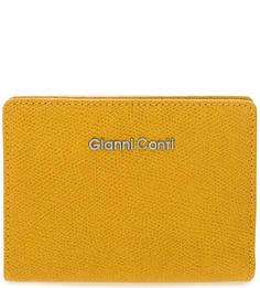 Желтый кошелек из натуральной кожи Gianni Conti