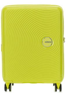 Желтый пластиковый чемодан с двумя отделами American Tourister