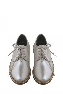 Серебристые кожаные туфли Louise Bonpoint