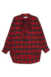Хлопковая блузка в клетку Balenciaga