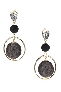 Комбинированные серьги с серыми шарами Lisa Smith