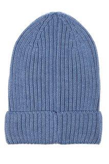 Голубая шапка-бини из полушерсти Blank.Moscow