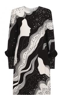 Мини-платье с длинным рукавом и принтом Chloé