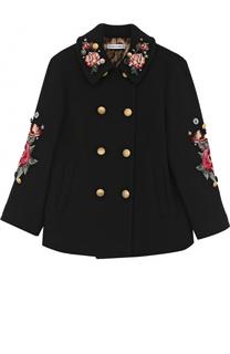 Укороченное двубортное пальто из шерсти с аппликациями Dolce & Gabbana