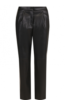 Укороченные кожаные брюки с защипами BOSS