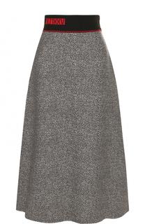 Шерстяная юбка-миди с контрастным широким поясом Fendi