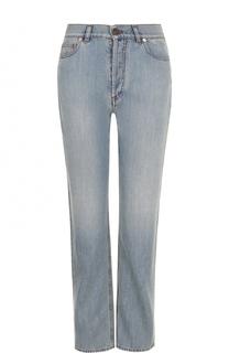 Укороченные джинсы прямого кроя с потертостями Valentino