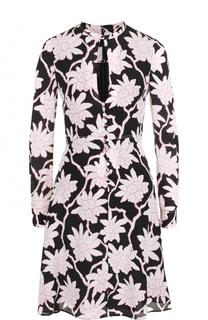 Шелковое платье-миди с завышенной талией и принтом Valentino