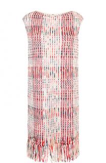 Буклированное платье-миди с бахромой St. John