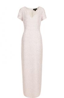 Буклированное платье-макси с V-образным вырезом St. John