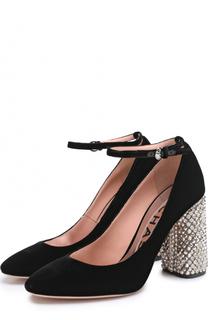 Бархатные туфли на декорированном каблуке Rochas