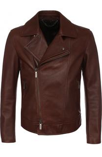 Кожаная куртка с косой молнией Brioni