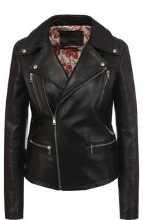 Однотонная кожаная куртка с косой молнией Gucci