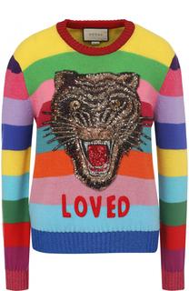 Шерстяной пуловер в полоску с вышивкой пайетками Gucci