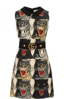Приталенное платье-миди с принтом Gucci
