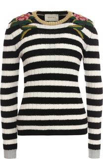 Пуловер фактурной вязки из смеси шерсти и кашемира Gucci