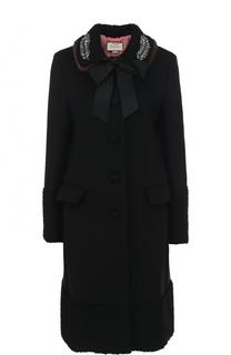 Шерстяной пальто с отделкой из меха норки Gucci