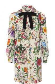 Шелковое мини-платье с принтом и контрастным бантом Gucci