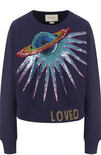 Хлопковый свитшот с круглым вырезом и вышивкой пайетками Gucci